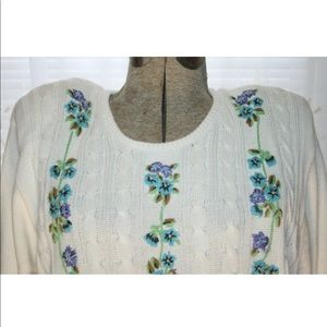 Alfred Dunner Sweaters - ALDRED DUNNER Sweater,Boho Flower Sweater,XL